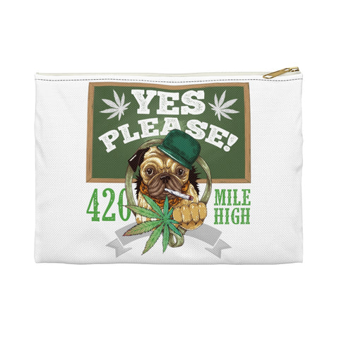 Yes Please White Accessory Pouch - 420 Mile High