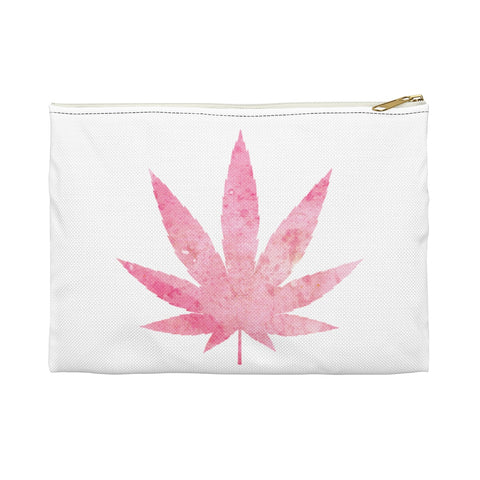 Pink Weed White Accessory Pouch - 420 Mile High