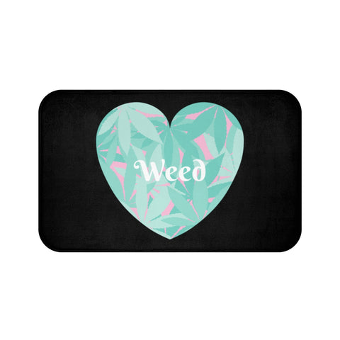 Love Weed Black Bath Mats - 420 Mile High