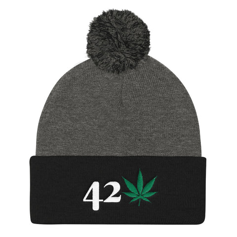 420 Mile High Weed Pom Pom Knit Hat - 420 Mile High