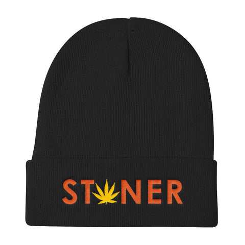 Orange Stoner Yellow Weed Beanie Hat - 420 Mile Hat