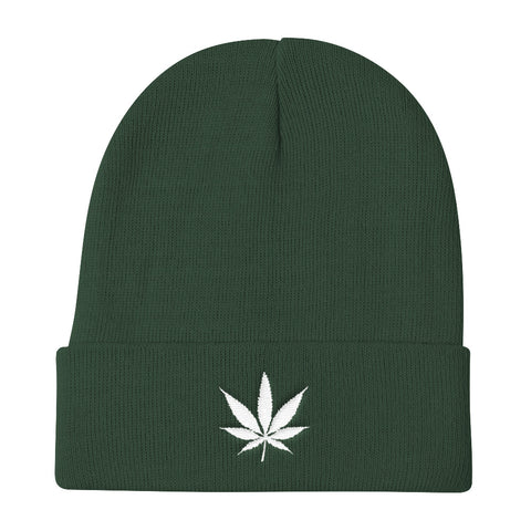420 Mile High White Weed Knit Beanie Hat - 420 Mile High