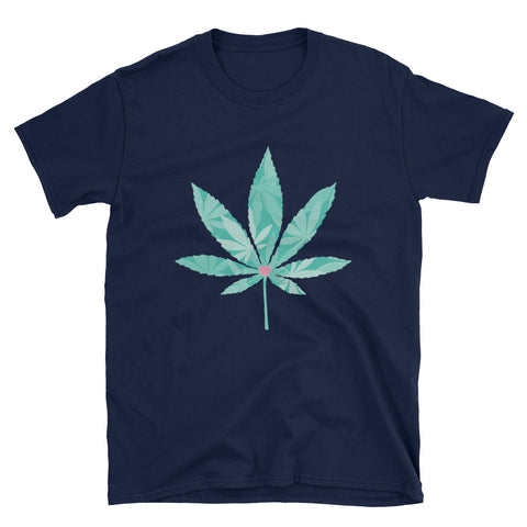 Heart Weed Short-Sleeve Unisex Navy T-Shirt | 420 Mile High