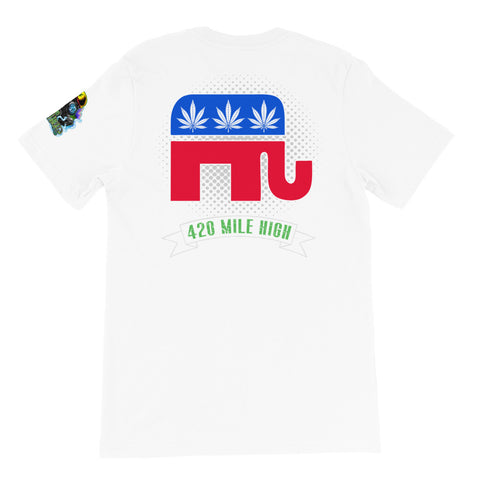 Republican Weed Back Print White T-Shirt | 420 Mile High