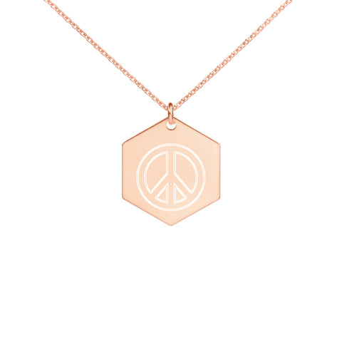 Peace Sign Engraved Silver Hexagon Necklace - 420 Mile High