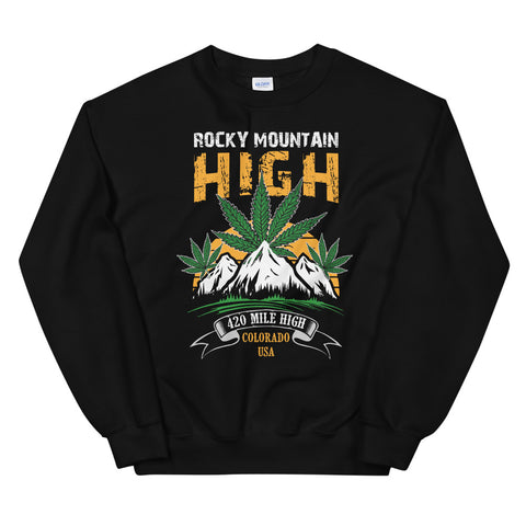 Rocky Mountain High Sweatshirt Black Color | 420 Mile High