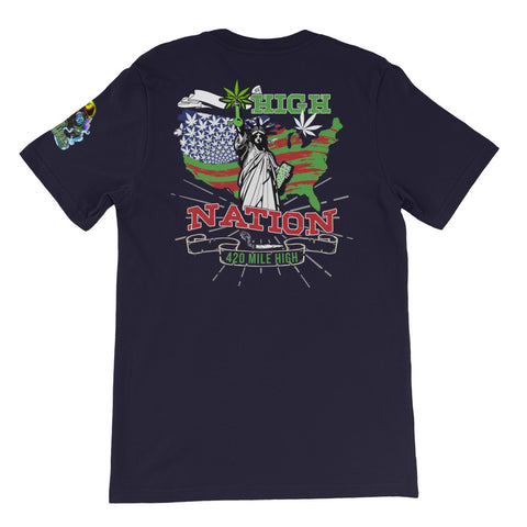 High Nation Weed Back Print Navy T-Shirt | 420 Mile High