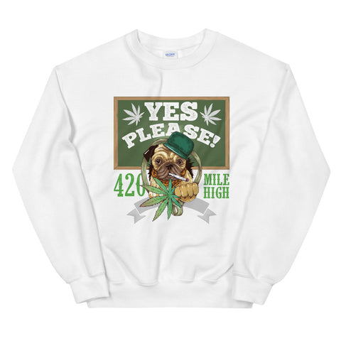 Yes Please Sweatshirt White Color | 420 Mile High