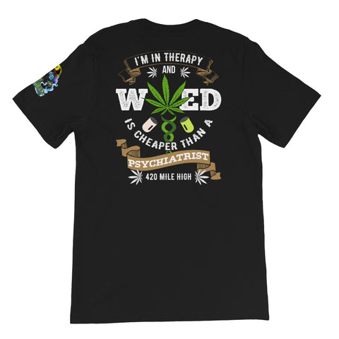Weed Is Cheaper Back Print Black T-Shirt | 420 Mile High