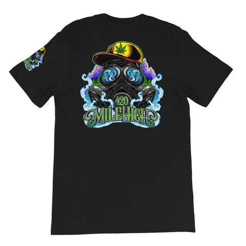 Gas Mask And Weed Unisex T-Shirt - 420 Mile High