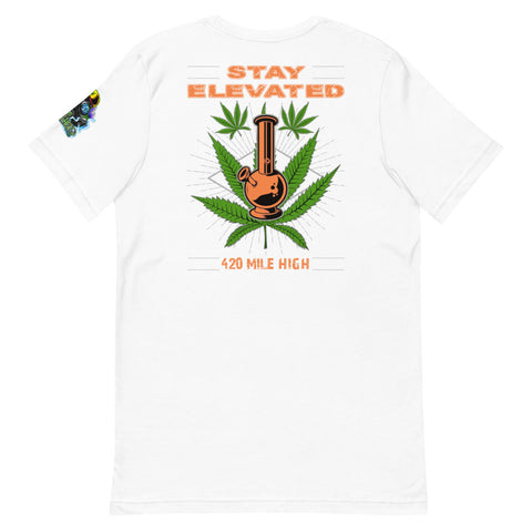 Stay Elevated Back Print White T-Shirt - 420 Mile High