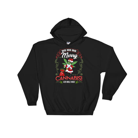 Merry Cannabis Weed Pullover Sweatshirt Hoodie - 420 Mile High