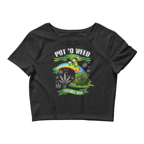 Womens Pot O Weed Crop Top - 420 Mile High