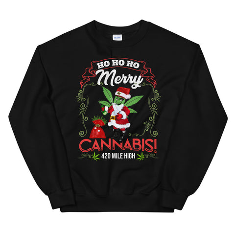 Merry Cannabis Sweatshirt Black Color | 420 Mile High
