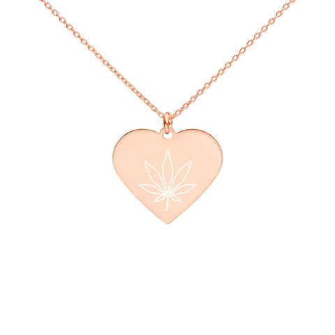 Engraved Heart Weed Necklace