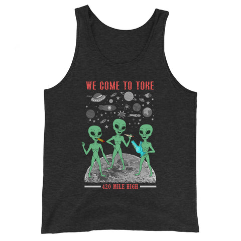 We Come To Toke Dark Heather Gray Tank Top | 420 Mile High