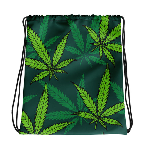 Green Weed Drawstring Bag - 420 Mile High