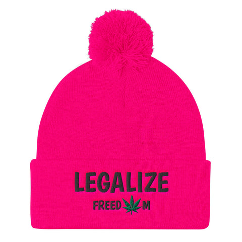 Legalize Freedom Weed Knit Pom Pom Beanie Hat - 420 Mile High
