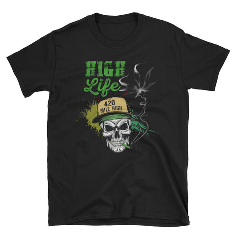 High Life Weed Black T-Shirt | 420 Mile High