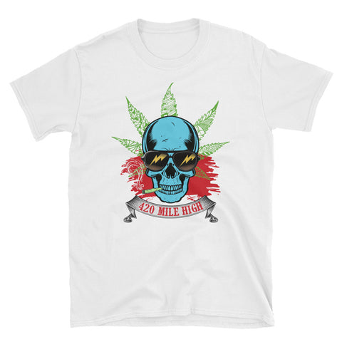 Smoking Weed Short-Sleeve Unisex White T-Shirt | 420 Mile High