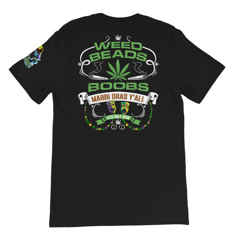 Weed Beads Boobs Short-Sleeve Unisex Back Print T-Shirt