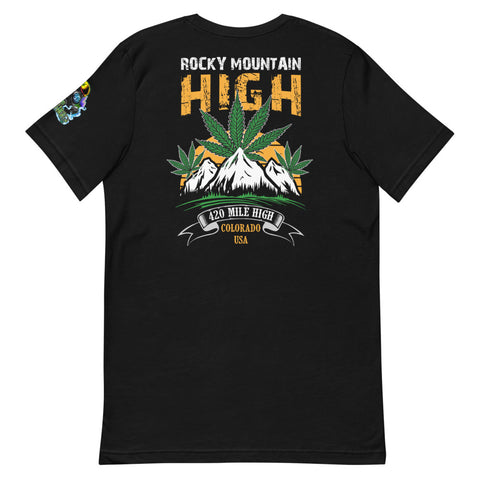 Rocky Mountain High Back Print Black T-Shirt - 420 Mile High