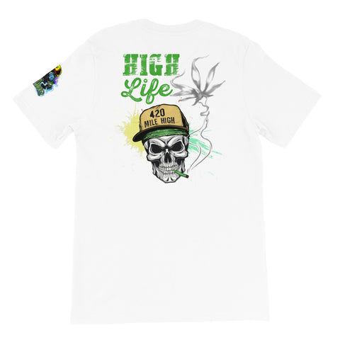 High Life Weed Back Print White T-Shirt | 420 Mile High