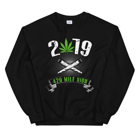 2019 Weed Sweatshirt Black Color | 420 Mile High