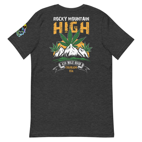 Rocky Mountain High Back Print Heather Gray T-Shirt - 420 Mile High