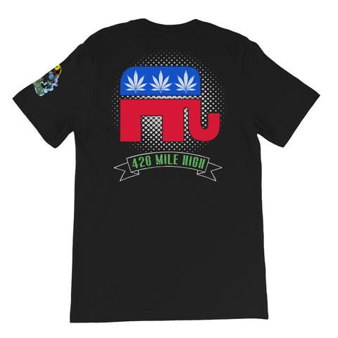Republican Weed Back Print Black T-Shirt | 420 Mile High