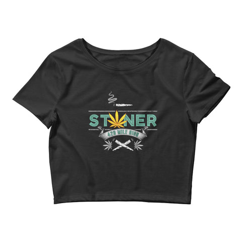 Womens Stoner Weed Crop Top - 420 Mile High