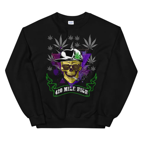 420 Mile High Party Weed Sweatshirt Black Color | 420 Mile High
