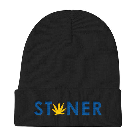 Blue Stoner Yellow Weed Knit Beanie Hat - 420 Mile High