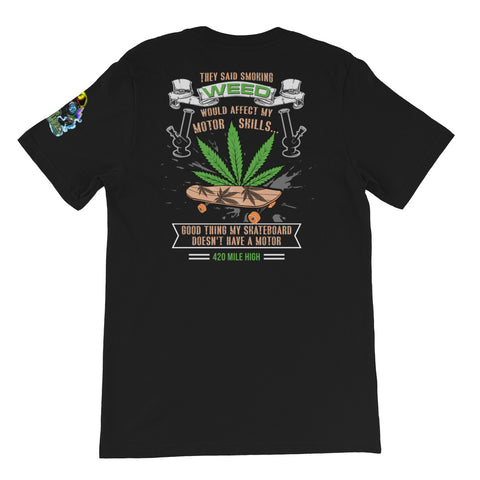 Skateboard And Weed Short-Sleeve Unisex Back Print T-Shirt