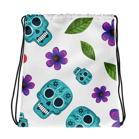 Skull and Flower Drawstring Bag - 420 Mile High