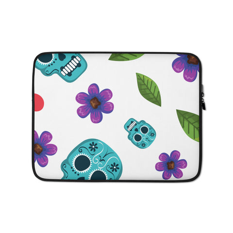 Skull and Flower Laptop Protective Sleeve - 420 Mile High