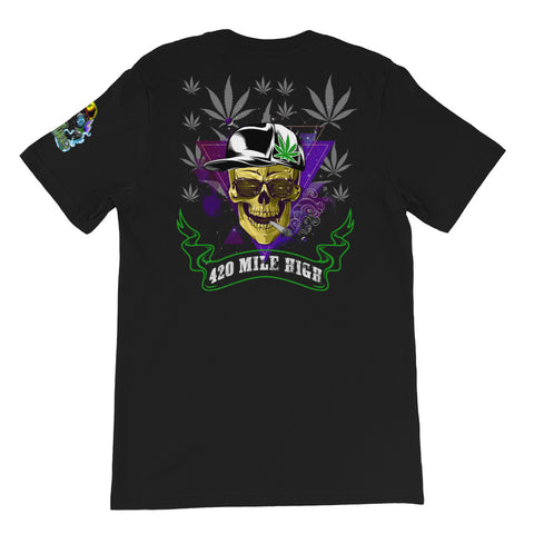 420 Mile High Party Weed Back Print Black T-Shirt | 420 Mile High