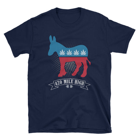 Democrat Weed T-Shirt Navy Color | 420 Mile High