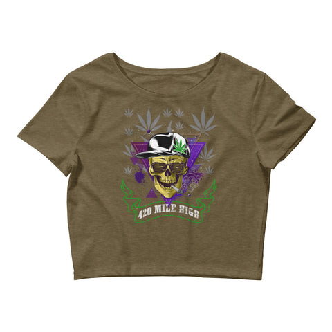 Womens 420 Party Weed Crop Top - 420 Mile High
