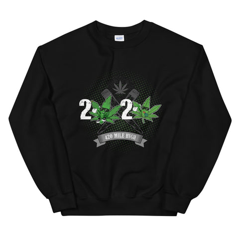 2020 Weed Sweatshirt Black Color | 420 Mile High