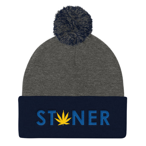 Blue Stoner Yellow Weed Pom Pom Knit Hat - 420 Mile High