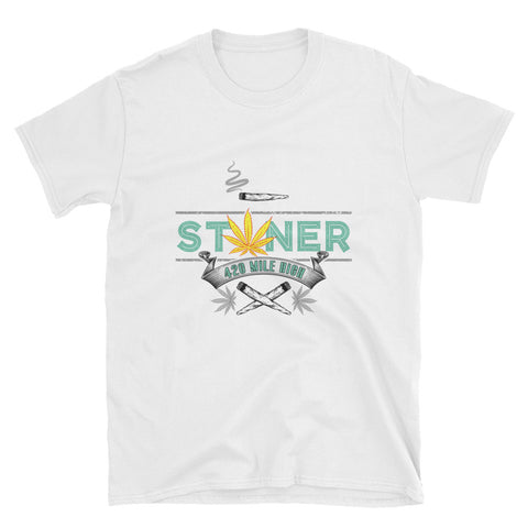 420 Mile High Stoner Weed T-Shirt White Color | 420 Mile High