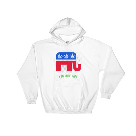 Stoner Republican Weed Pullover Sweatshirt Hoodie - 420 Mile High