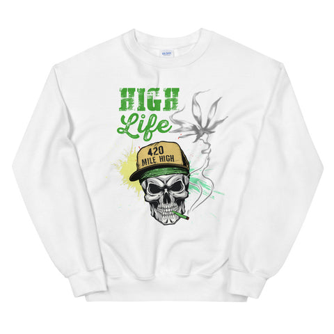 High Life Sweatshirt White Color | 420 Mile High