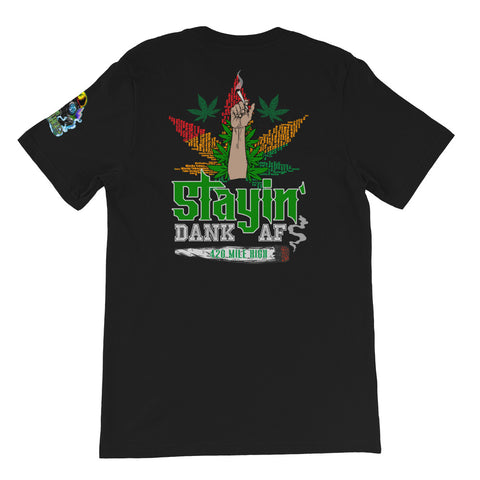 Stayin Dank AF Back Print Black T-Shirt | 420 Mile High