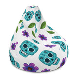 Skull and Flower Bean Bag Chair Cover - 420 Mile High