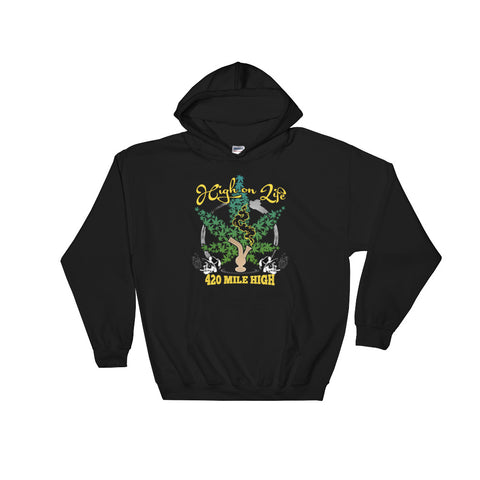 Stoner High on Life Weed Pullover Sweatshirt Hoodies - 420 Mile High