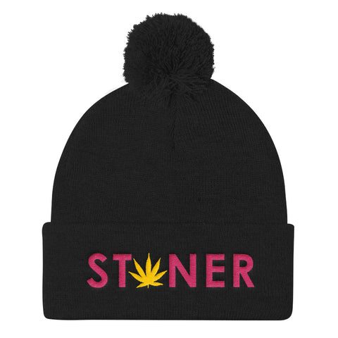 Pink Stoner Yellow Weed Pom Pom Beanie Hat - 420 Mile High
