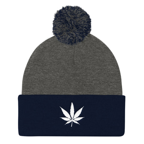 420 Mile High White Weed Pom Pom Knit Hat - 420 Mile High