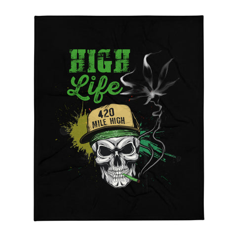 High Life Weed Throw Blanket